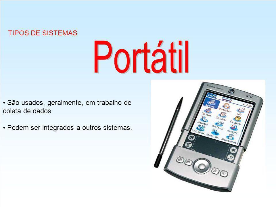 Portátil TIPOS DE SISTEMAS São usados, geralmente, em trabalho de