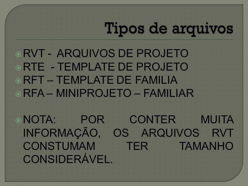 Tipos de arquivos RVT - ARQUIVOS DE PROJETO RTE - TEMPLATE DE PROJETO