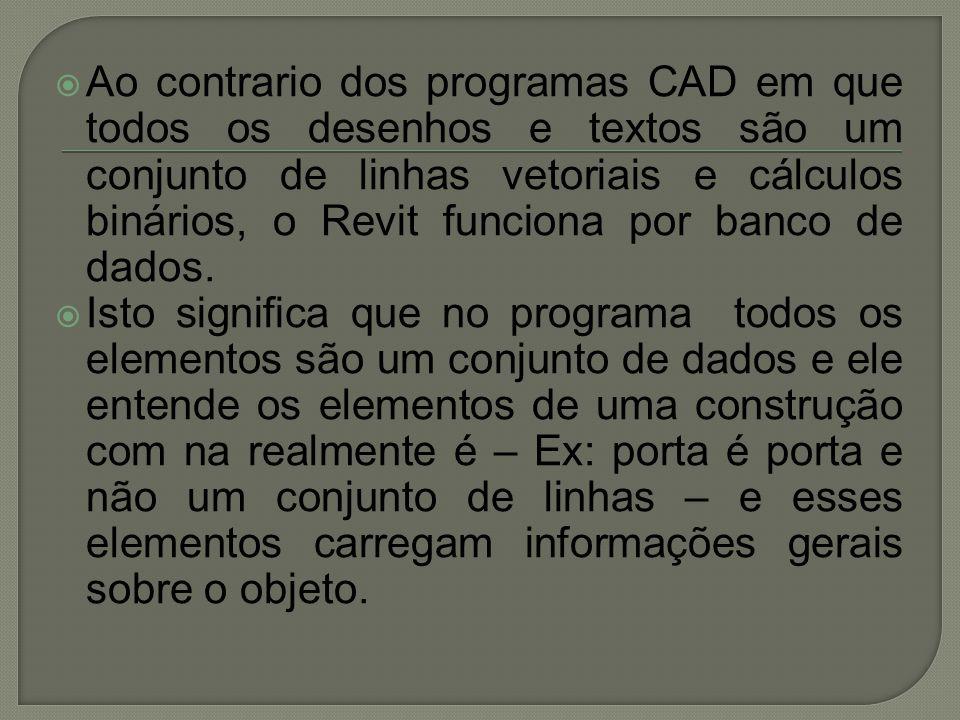 Ao contrario dos programas CAD em que todos os desenhos e textos são um conjunto de linhas vetoriais e cálculos binários, o Revit funciona por banco de dados.