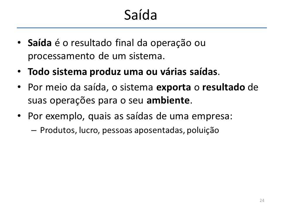 Saída Saída é o resultado final da operação ou processamento de um sistema. Todo sistema produz uma ou várias saídas.