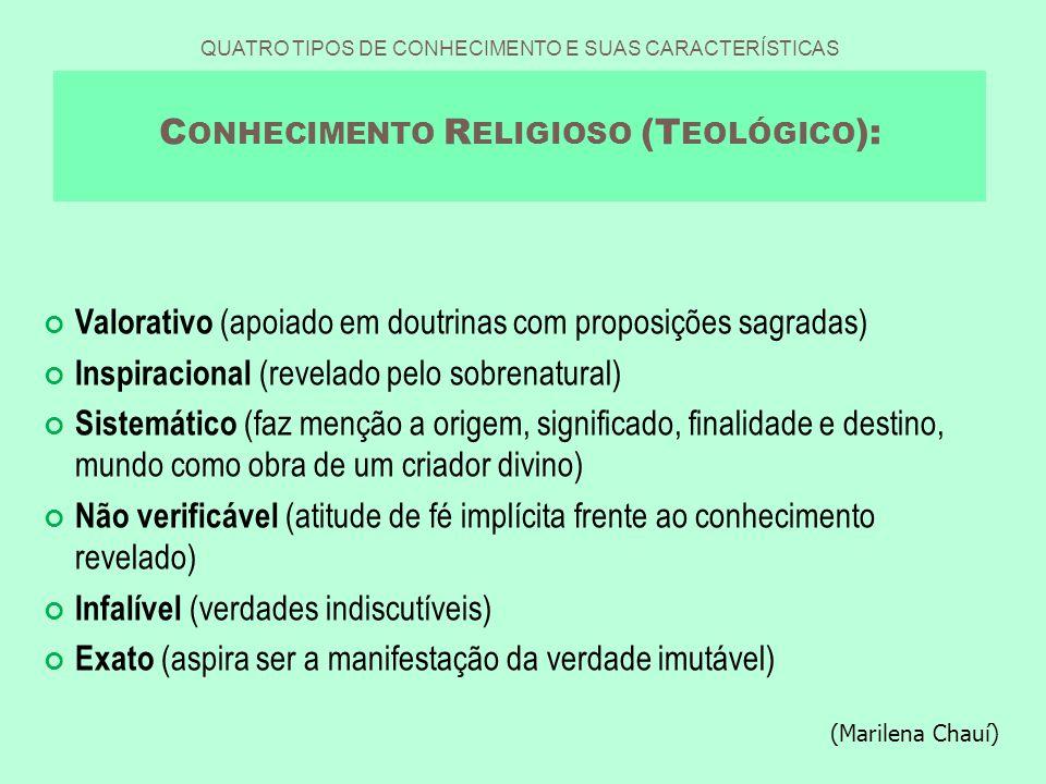 Valorativo (apoiado em doutrinas com proposições sagradas)