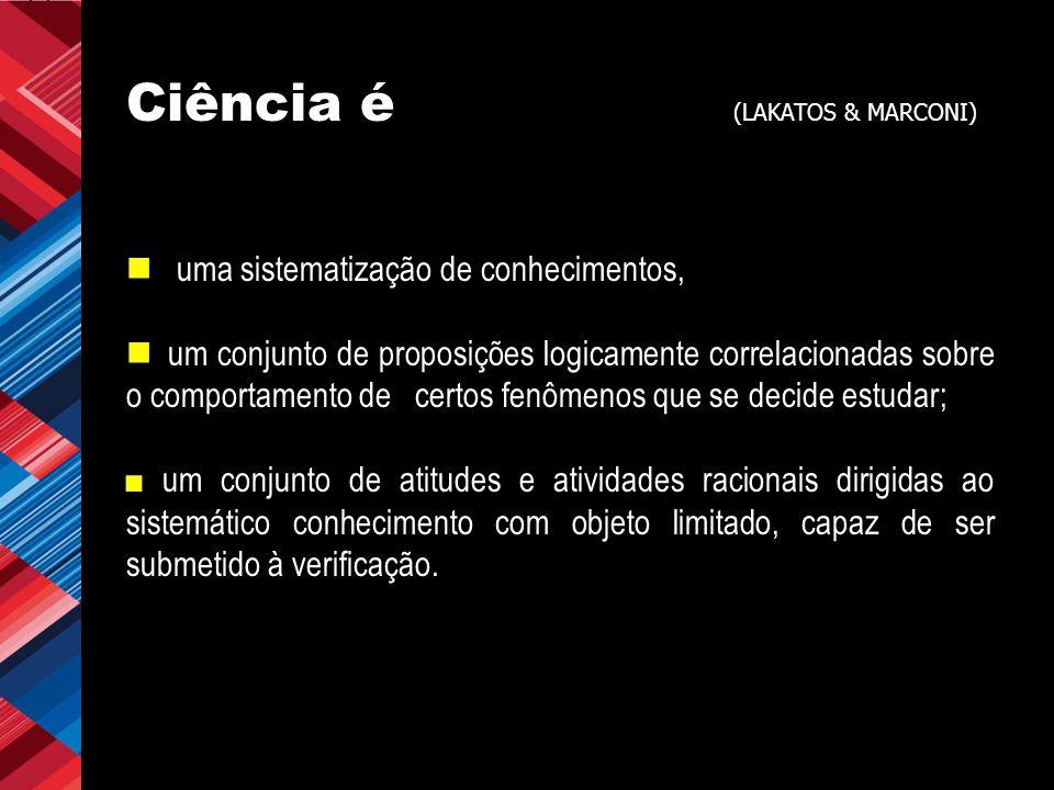 Ciência é (LAKATOS & MARCONI)