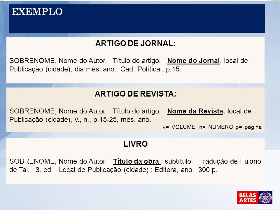 Exemplo ARTIGO DE JORNAL: ARTIGO DE REVISTA: LIVRO