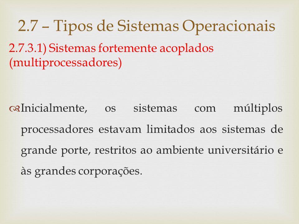 2.7 – Tipos de Sistemas Operacionais