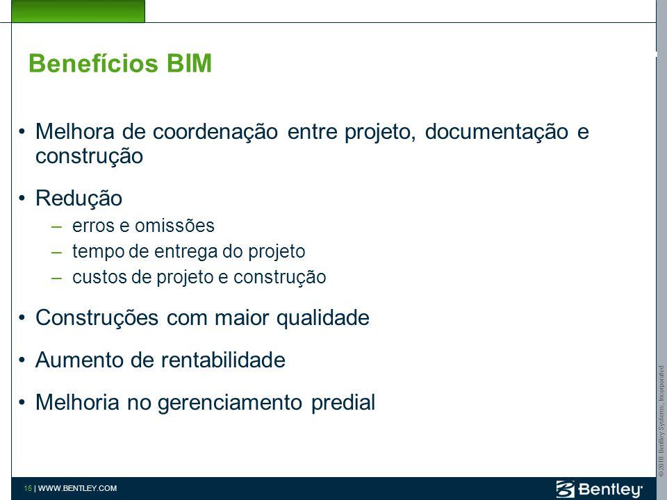 Benefícios BIM Melhora de coordenação entre projeto, documentação e construção. Redução. erros e omissões.