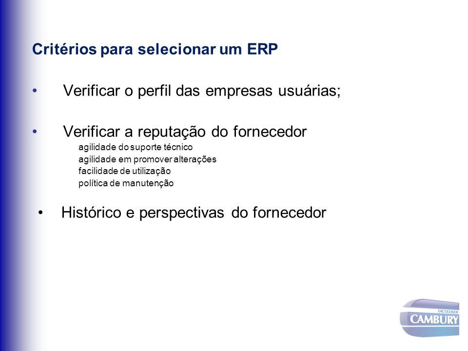 Critérios para selecionar um ERP