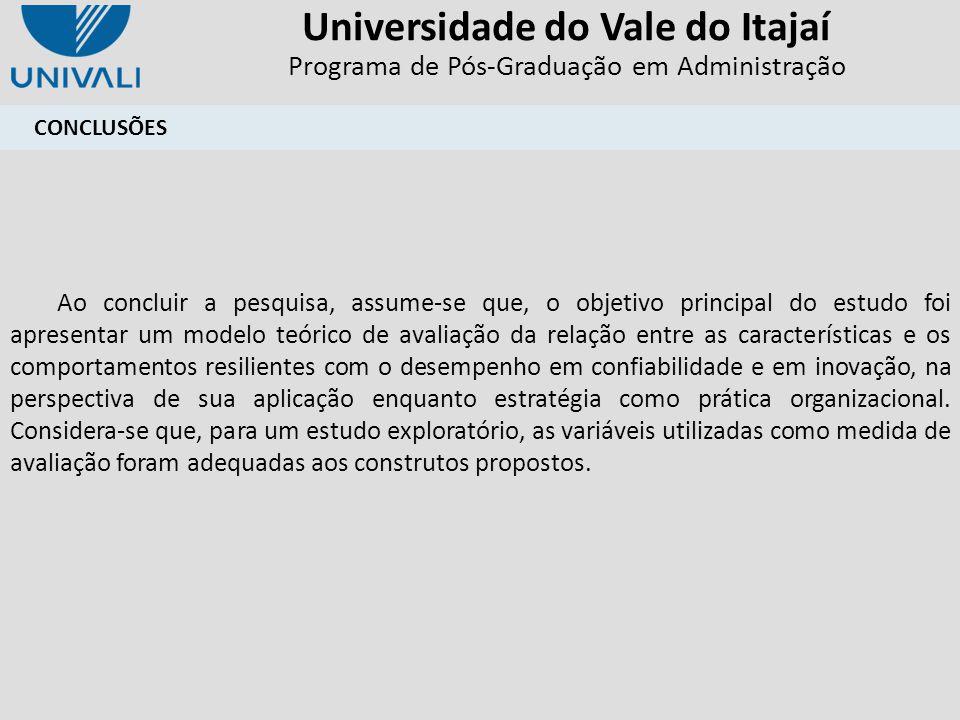 Universidade do Vale do Itajaí Programa de Pós-Graduação em Administração