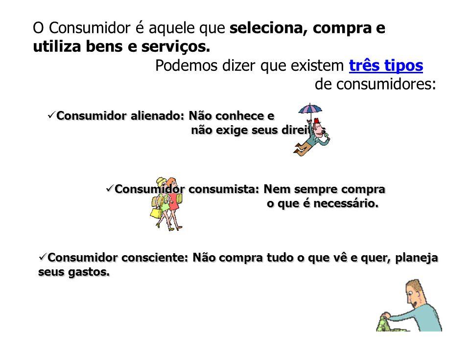 O Consumidor é aquele que seleciona, compra e utiliza bens e serviços.