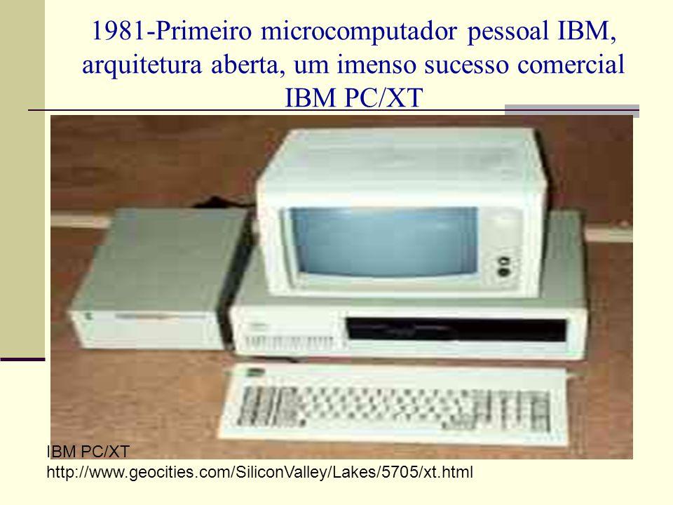 1981-Primeiro microcomputador pessoal IBM, arquitetura aberta, um imenso sucesso comercial IBM PC/XT