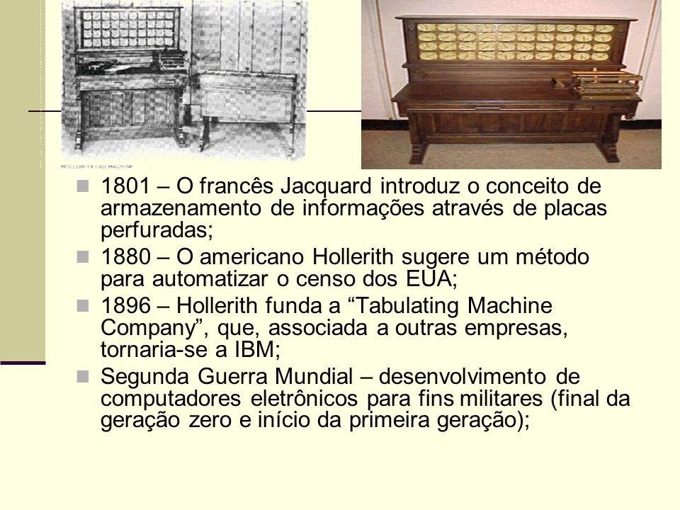 1801 – O francês Jacquard introduz o conceito de armazenamento de informações através de placas perfuradas;