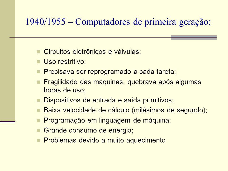 1940/1955 – Computadores de primeira geração: