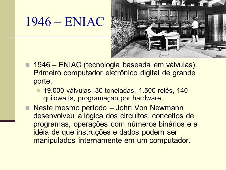 1946 – ENIAC 1946 – ENIAC (tecnologia baseada em válvulas). Primeiro computador eletrônico digital de grande porte.