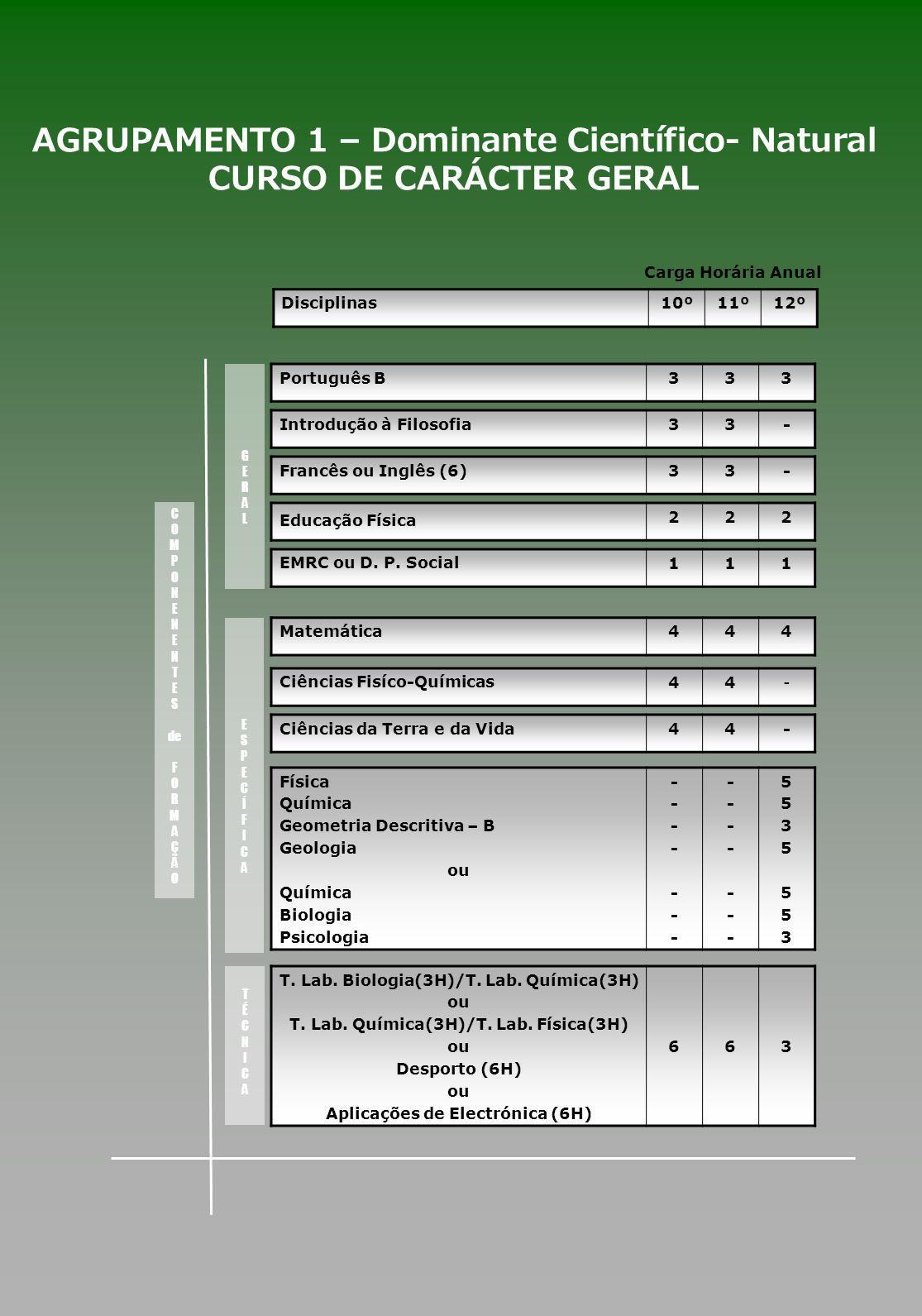 AGRUPAMENTO 1 – Dominante Científico- Natural CURSO DE CARÁCTER GERAL
