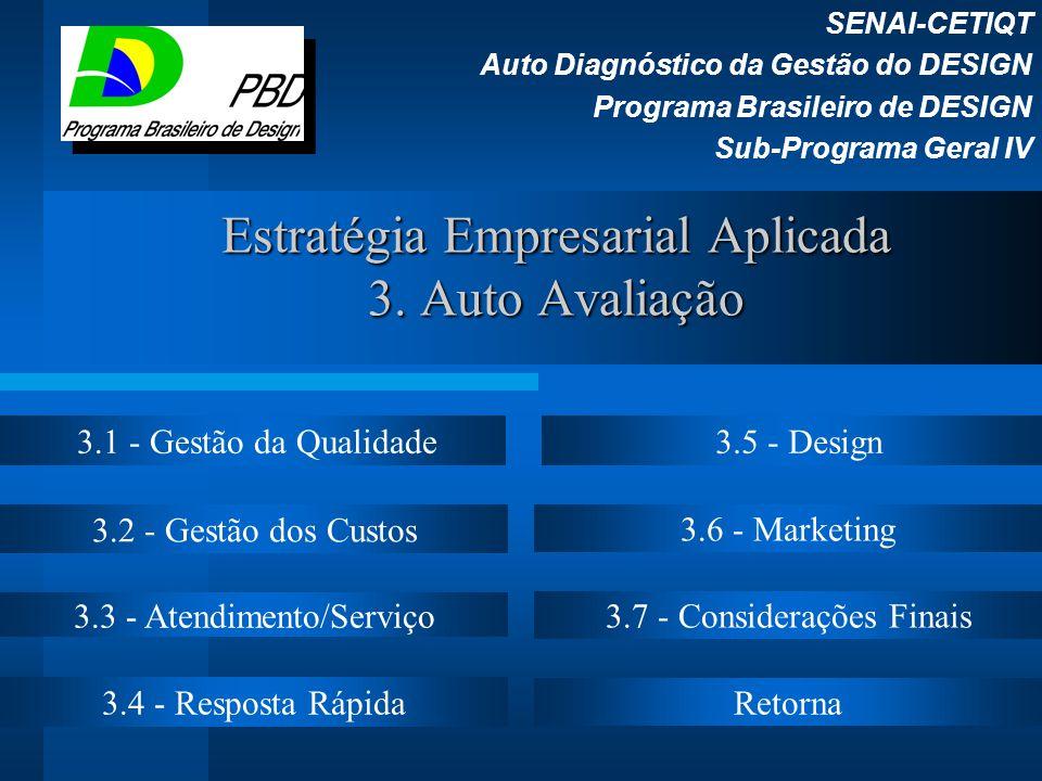 Estratégia Empresarial Aplicada 3. Auto Avaliação