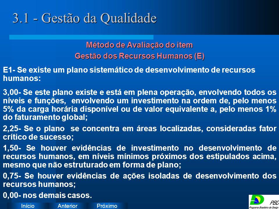 Método de Avaliação do item Gestão dos Recursos Humanos (E)