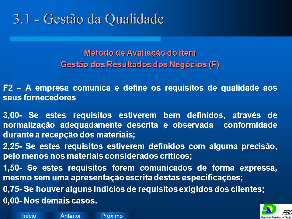 Método de Avaliação do item Gestão dos Resultados dos Negócios (F)