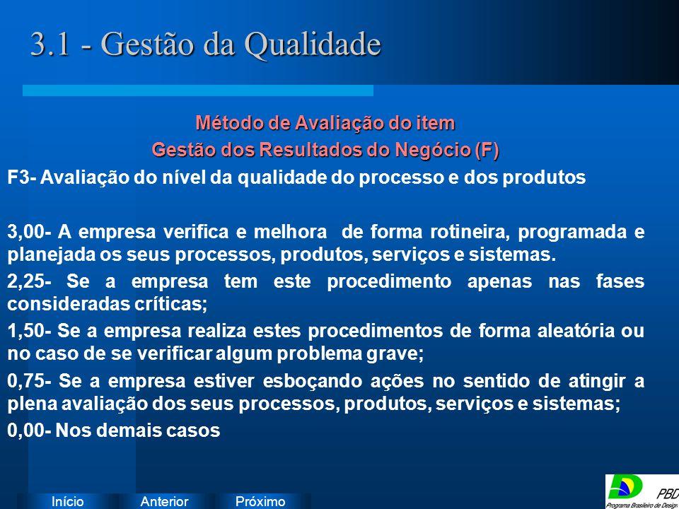Método de Avaliação do item Gestão dos Resultados do Negócio (F)