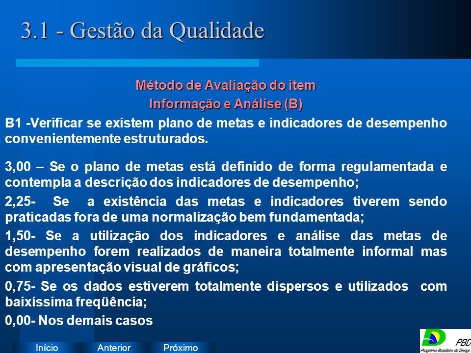 Método de Avaliação do item Informação e Análise (B)