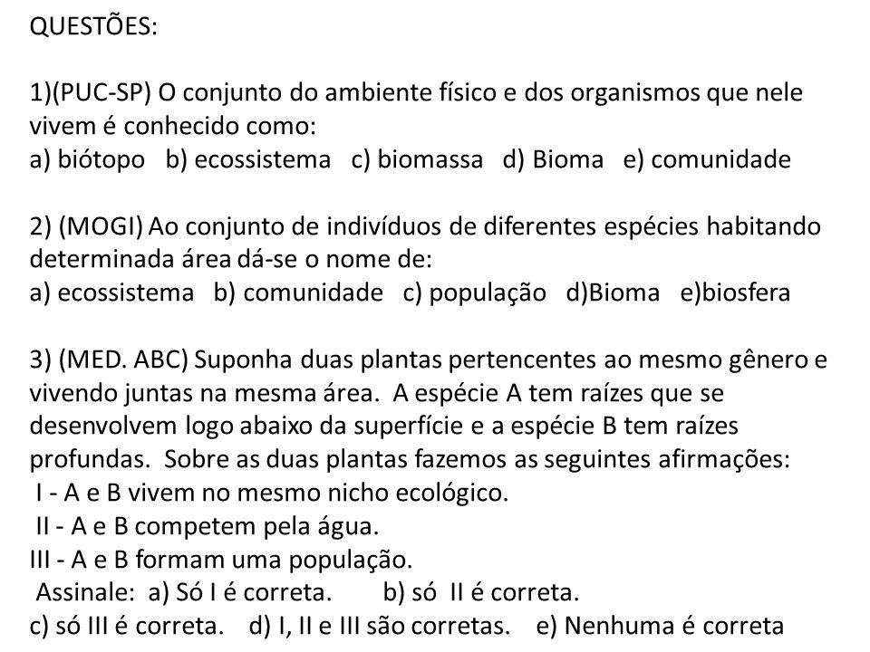 QUESTÕES: (PUC-SP) O conjunto do ambiente físico e dos organismos que nele vivem é conhecido como: