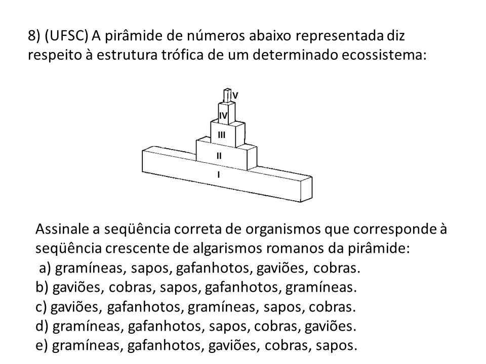 8) (UFSC) A pirâmide de números abaixo representada diz respeito à estrutura trófica de um determinado ecossistema: