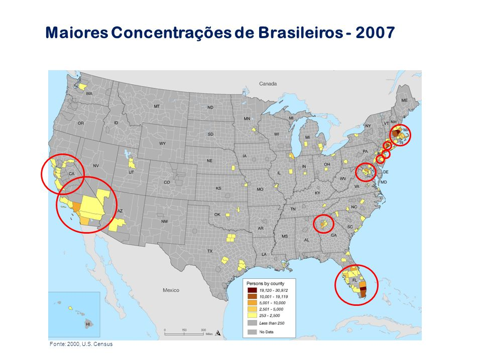 Maiores Concentrações de Brasileiros - 2007