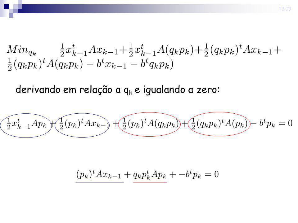 derivando em relação a qk e igualando a zero: