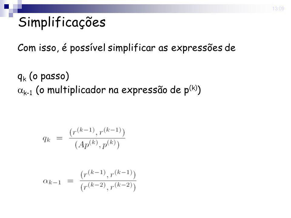 Simplificações Com isso, é possível simplificar as expressões de