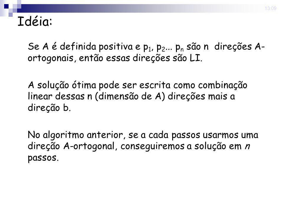 16 Nov 2008 . 13:09 Idéia: Se A é definida positiva e p1, p2... pn são n direções A-ortogonais, então essas direções são LI.