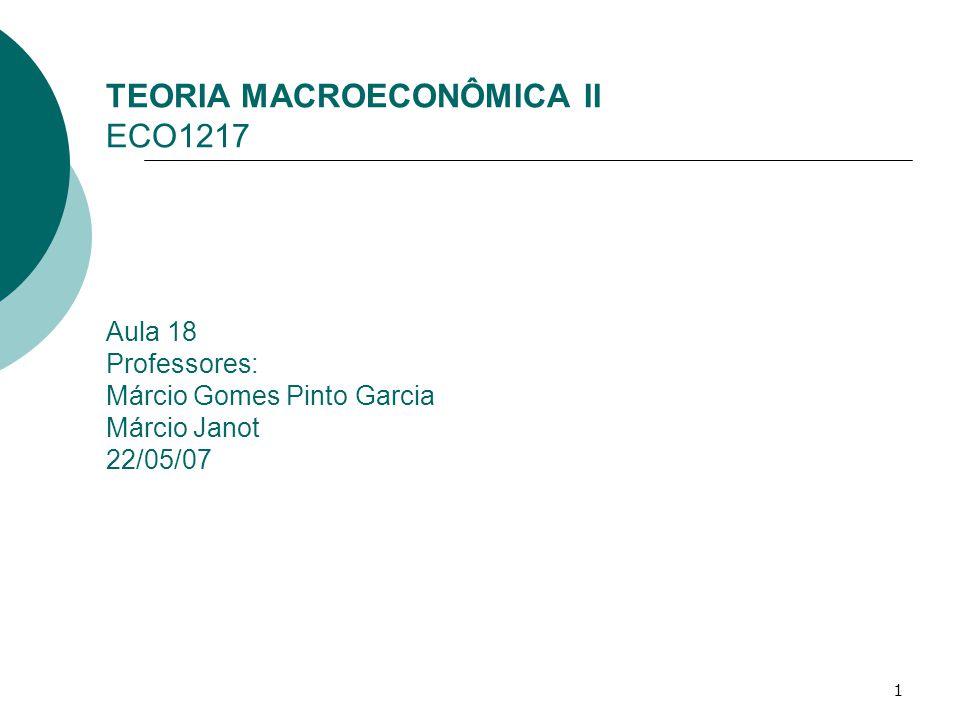 TEORIA MACROECONÔMICA II ECO1217 Aula 18 Professores: Márcio Gomes Pinto Garcia Márcio Janot 22/05/07