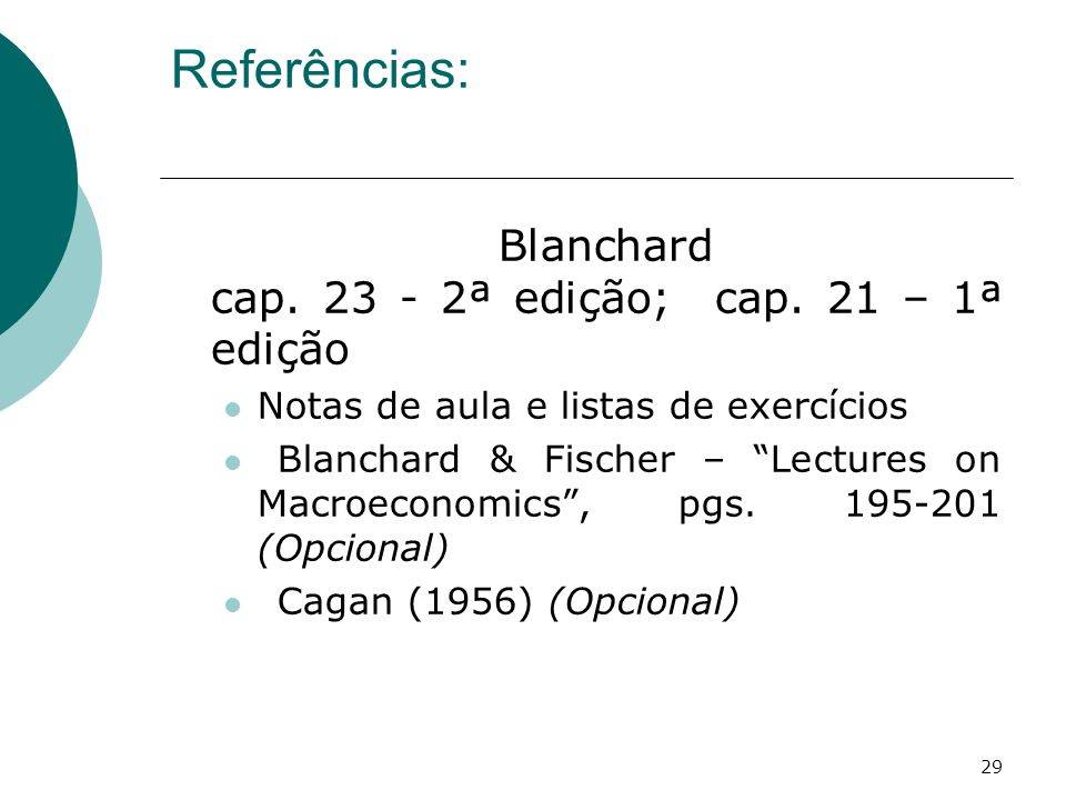 Referências: Blanchard cap. 23 - 2ª edição; cap. 21 – 1ª edição