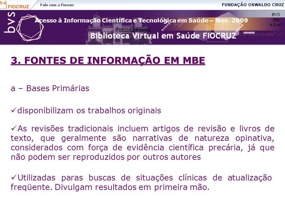 3. FONTES DE INFORMAÇÃO EM MBE