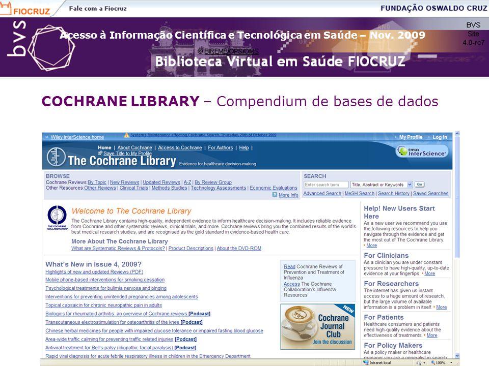 COCHRANE LIBRARY – Compendium de bases de dados
