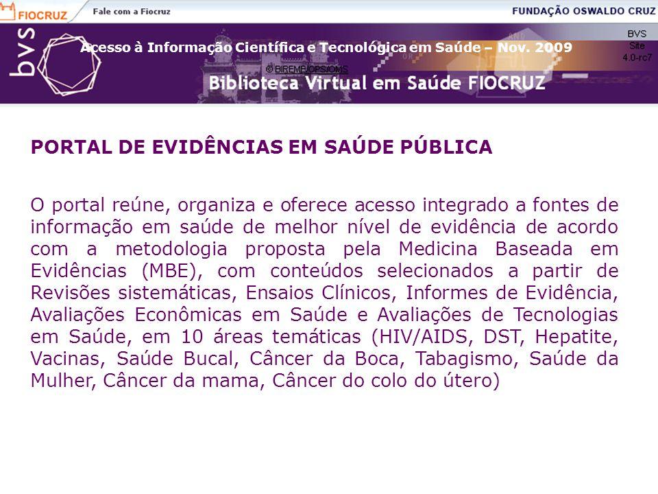 PORTAL DE EVIDÊNCIAS EM SAÚDE PÚBLICA