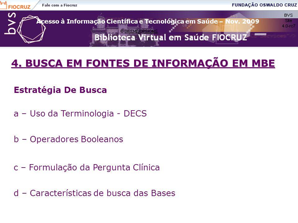 4. BUSCA EM FONTES DE INFORMAÇÃO EM MBE