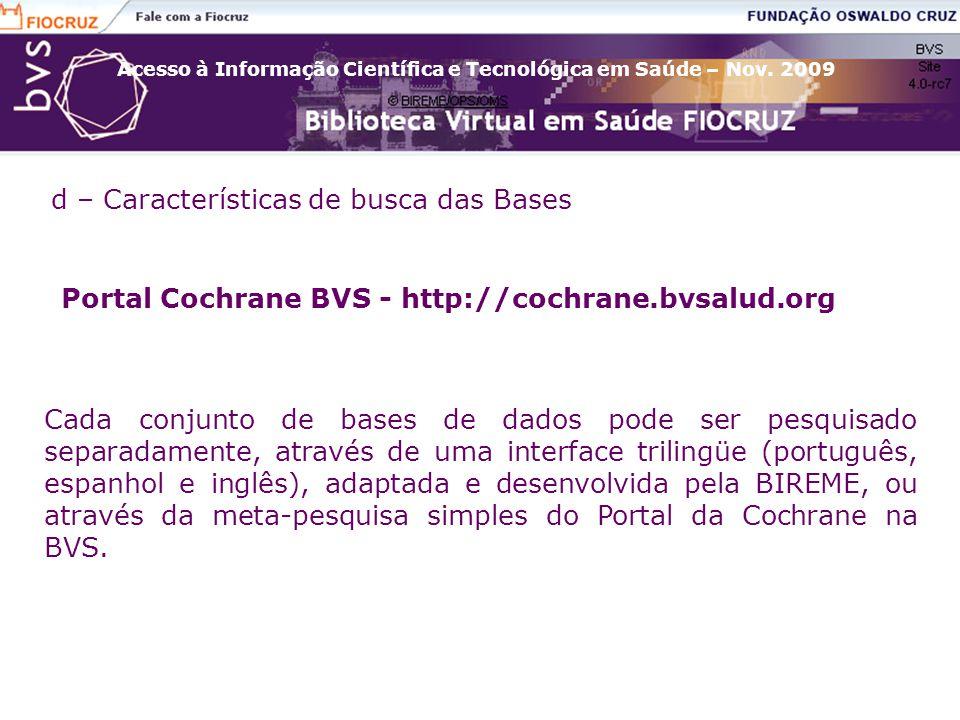 Portal Cochrane BVS - http://cochrane.bvsalud.org