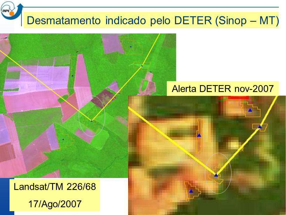 Desmatamento indicado pelo DETER (Sinop – MT)