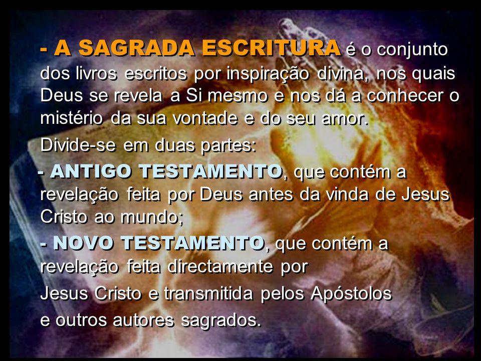 - A SAGRADA ESCRITURA é o conjunto dos livros escritos por inspiração divina, nos quais Deus se revela a Si mesmo e nos dá a conhecer o mistério da sua vontade e do seu amor.