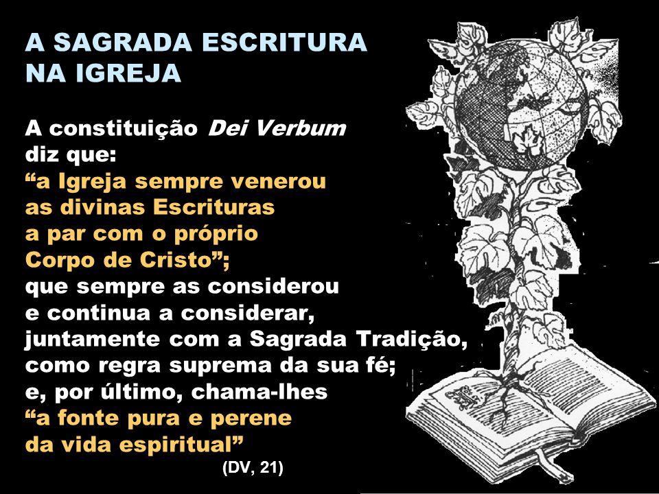 A SAGRADA ESCRITURA NA IGREJA A constituição Dei Verbum diz que: