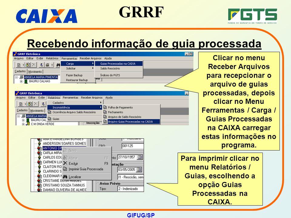 Recebendo informação de guia processada