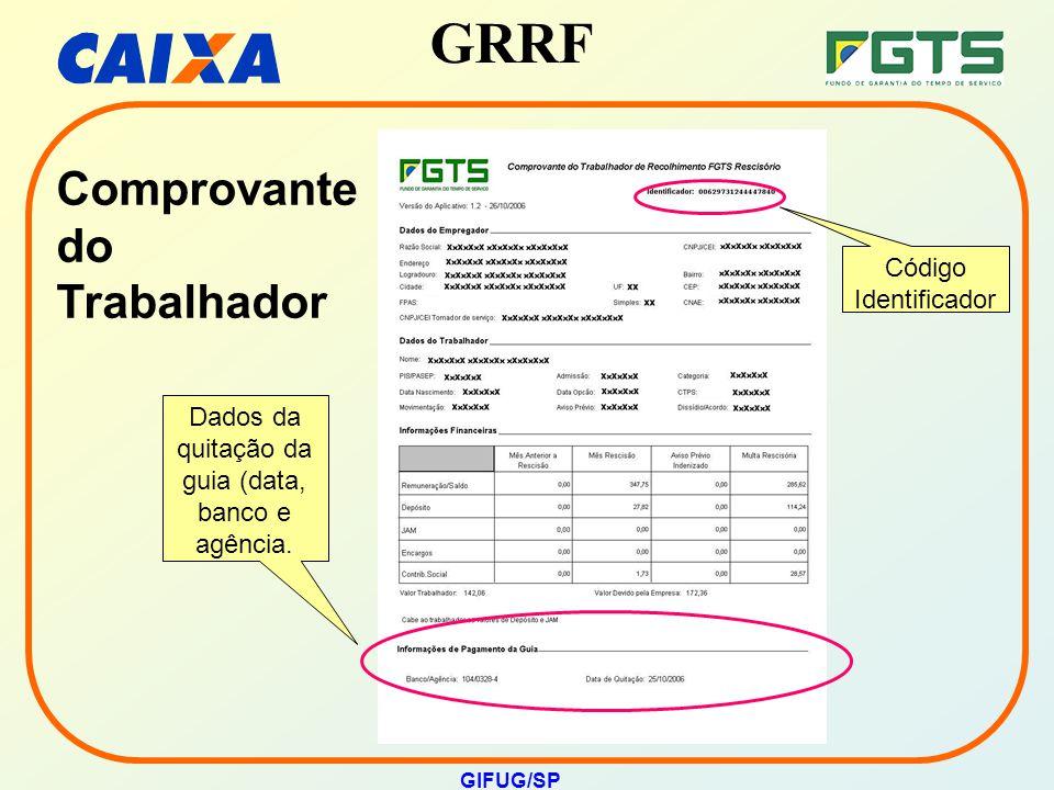 Dados da quitação da guia (data, banco e agência.