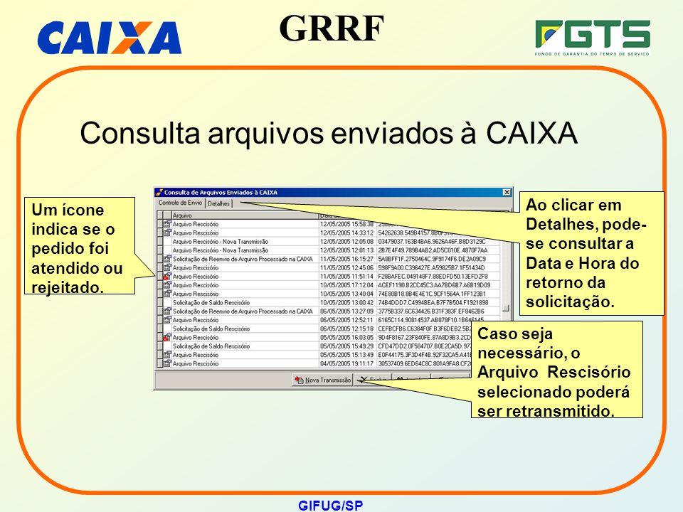 Consulta arquivos enviados à CAIXA