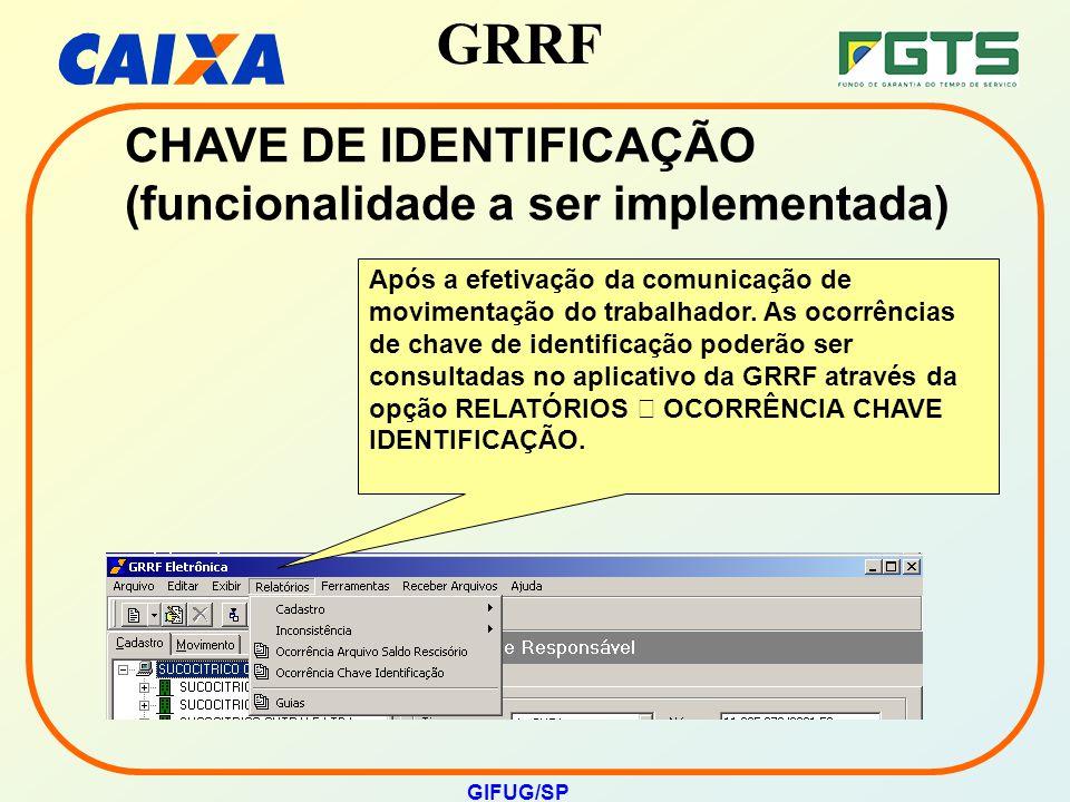CHAVE DE IDENTIFICAÇÃO (funcionalidade a ser implementada)