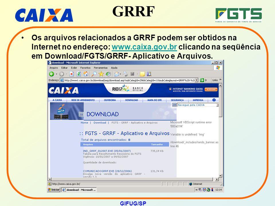 Os arquivos relacionados a GRRF podem ser obtidos na Internet no endereço: www.caixa.gov.br clicando na seqüência em Download/FGTS/GRRF- Aplicativo e Arquivos.