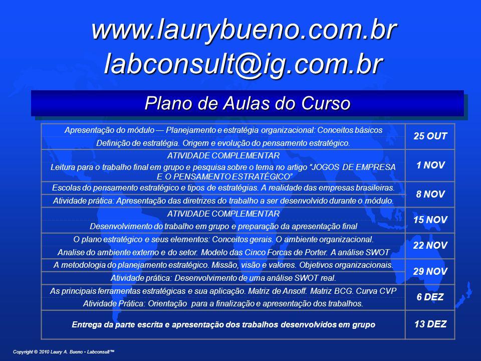 www.laurybueno.com.br labconsult@ig.com.br Plano de Aulas do Curso