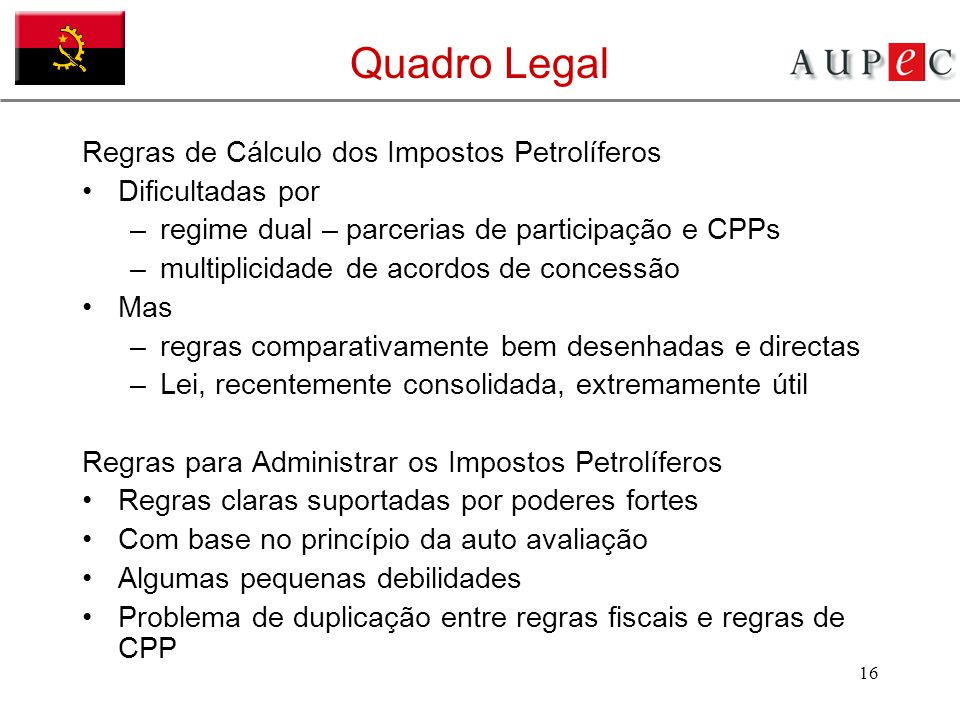 Quadro Legal Regras de Cálculo dos Impostos Petrolíferos