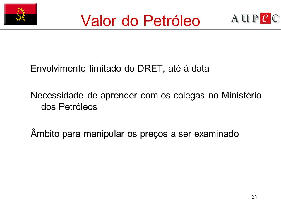 Valor do Petróleo Envolvimento limitado do DRET, até à data