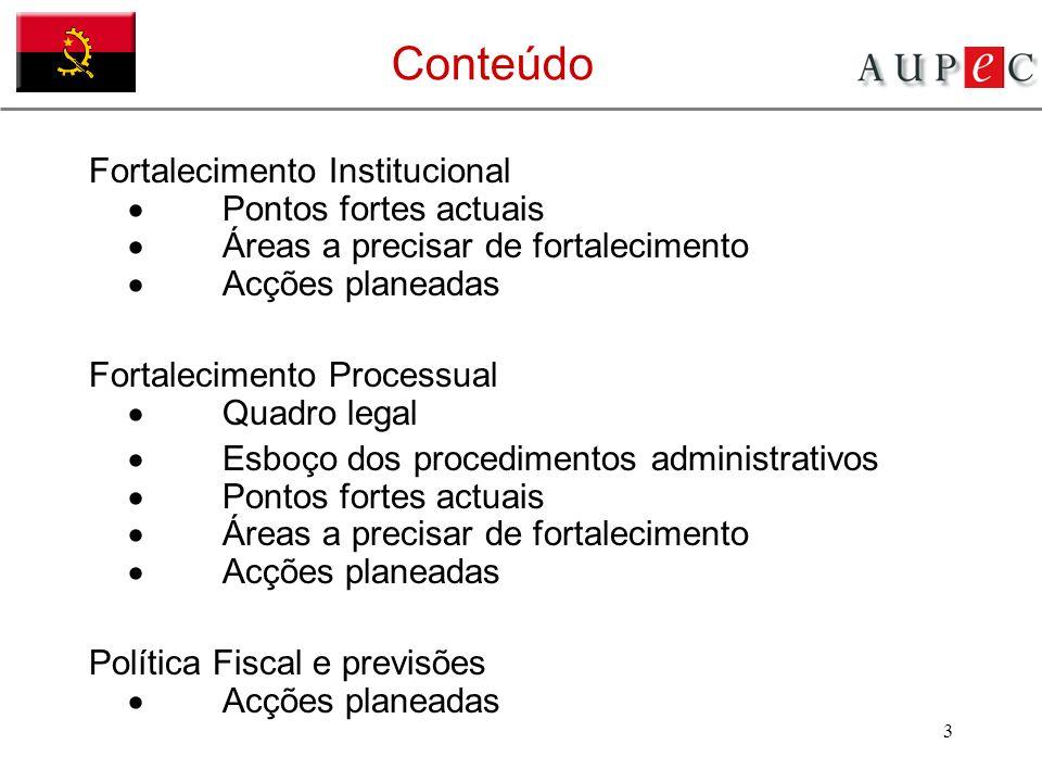 Conteúdo Fortalecimento Institucional · Pontos fortes actuais · Áreas a precisar de fortalecimento · Acções planeadas.