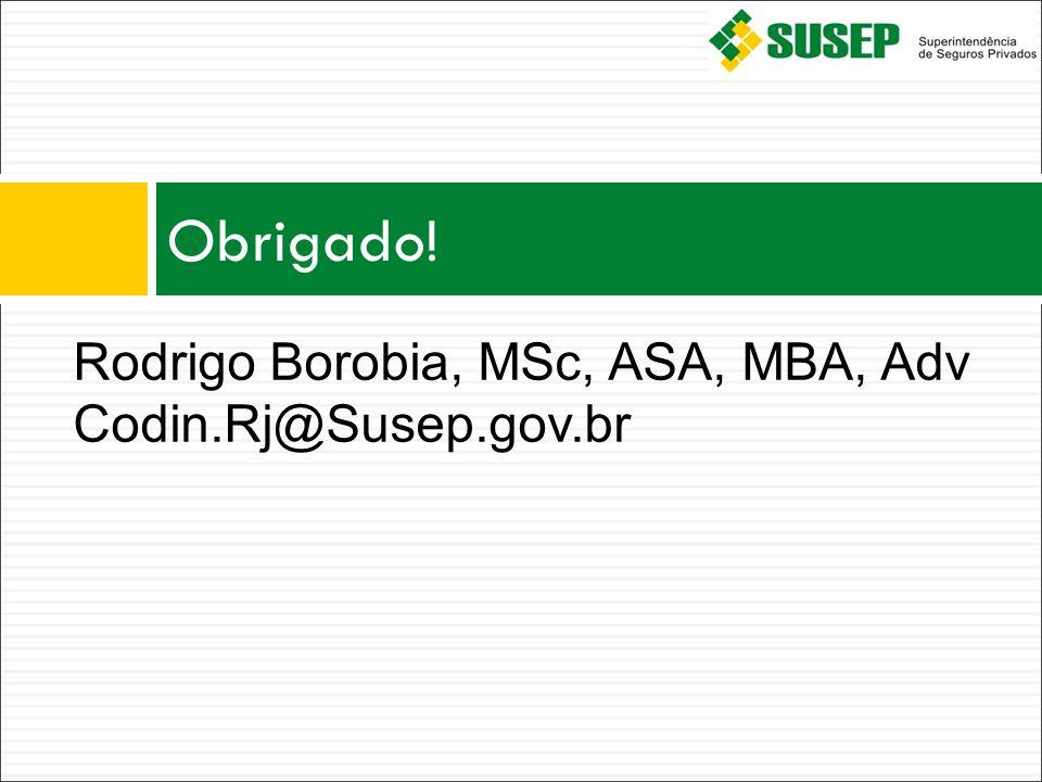 Obrigado! Rodrigo Borobia, MSc, ASA, MBA, Adv Codin.Rj@Susep.gov.br 14