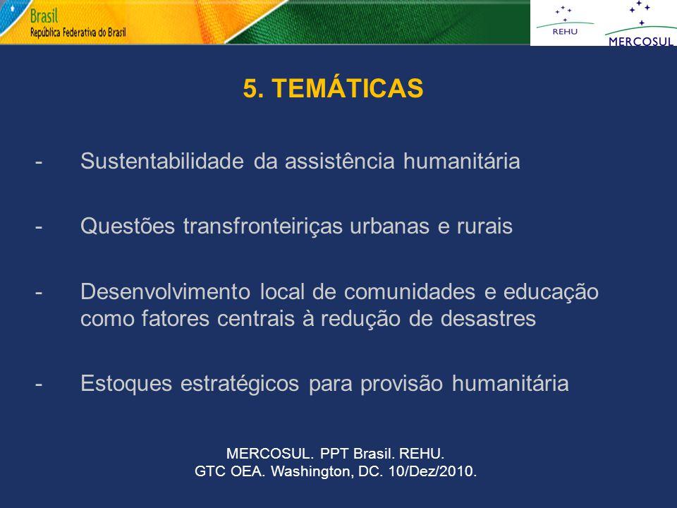 d 5. TEMÁTICAS Sustentabilidade da assistência humanitária
