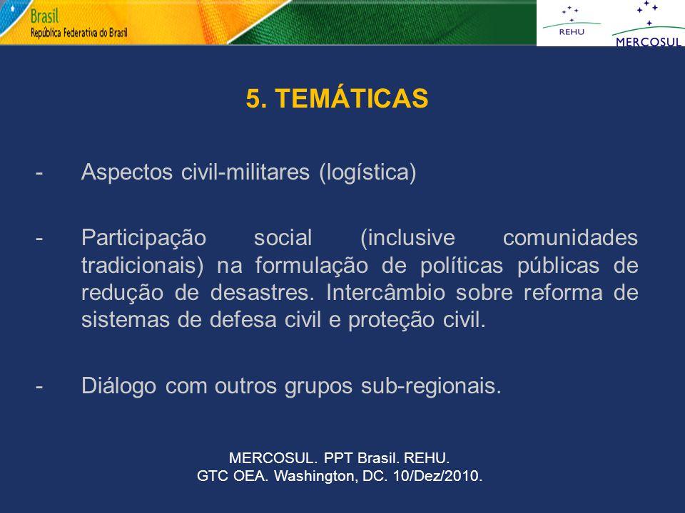 5. TEMÁTICAS - Aspectos civil-militares (logística)